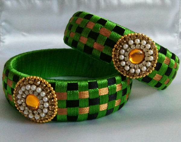 Tricolour Silk Thread Bangle Pair
