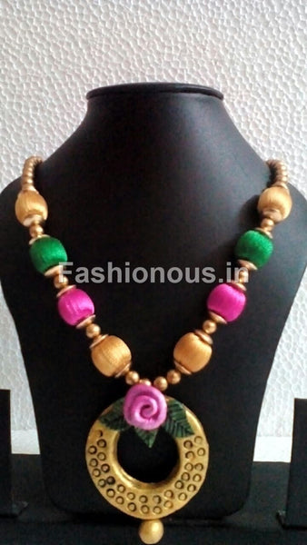 Tricolour Silk Thread Floral Necklace