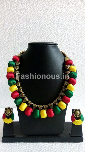 Tricolour Silk Thread Jewellery Set