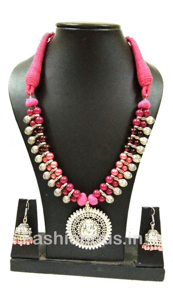 Triple Colour Crystal Beads With Silver Ganesh Pendant And Earrings-OXDJSW-015