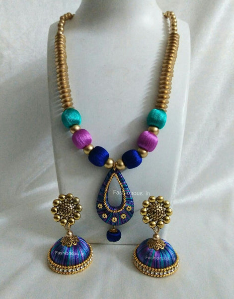 Triple Colour Silk Thread Necklace and Earrings