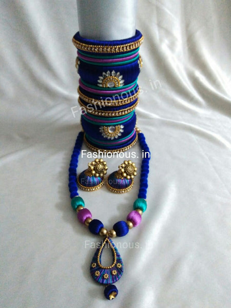 Triple Colour Silk Thread Jewellery Set
