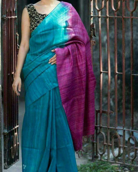 Turquoise Blue with Pink Pallu Linen Saree-LNSRE-020