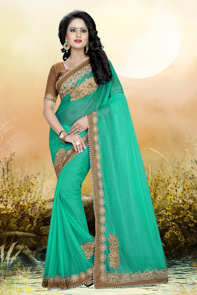 Turquoise Green colour Embroidery Patch Work Saree-SRP-GS-06
