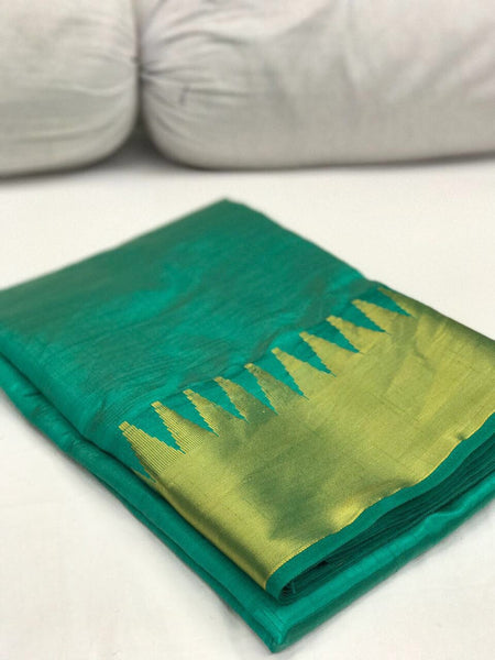 Turquoise Green with Golden Kommai Border Tussar Silk Saree-SRE-252