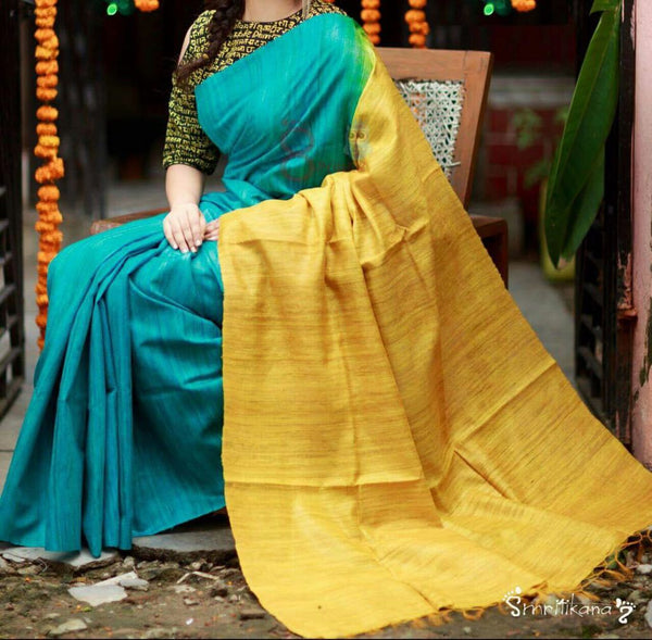 Turquoise Green with Yellow Pallu Linen Saree-LNSRE-018