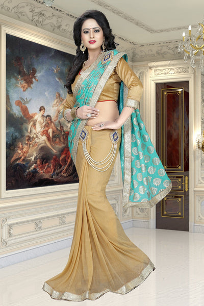 Turquoise and Beige colour Embroidery Patch Work Saree-SRP-GS-09