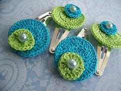 Turquoise and Green Color with White Beads Crochet Hair Clips