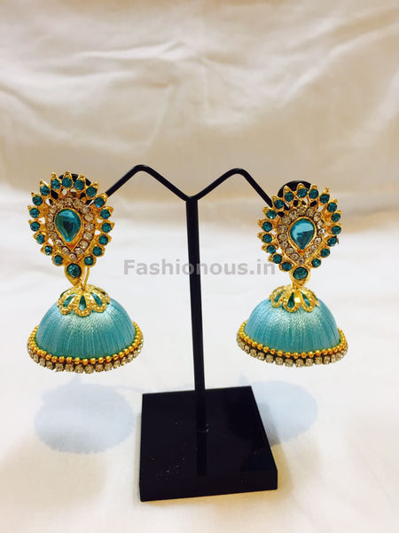 Turquoise blue Stone Studded Droplet Silk Thread Jhumkas-STJH-019