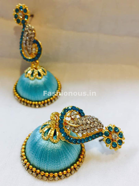 Turquoise blue and White Stone Studded Peacock Neck Floral Silk Thread Jhumkas-STJH-044