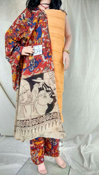 Honey-Crimson Delight Unstitched Kalamkari Dress Material-002 dark yellow & maroon coloured material
