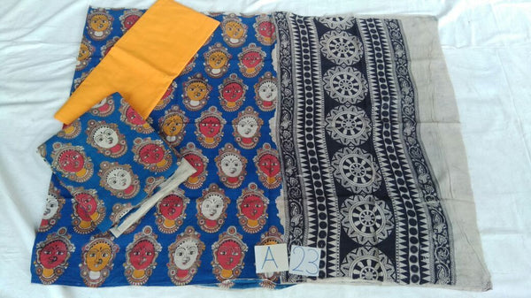 Spotted Blue-Red Melody Unstitched Kalamkari Dress Material-006 blue coloured dailywear lightweight