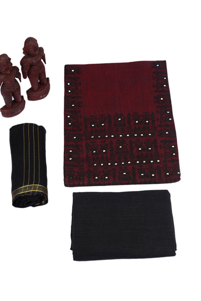 Burgundy Beauty Unstitched Madhubani Cotton Dress Material-MCDM002 Dark maroon coloured regularwear
