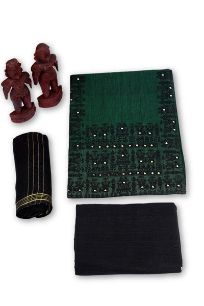 Jovial Juniper Unstitched Madhubani Cotton Dress Material-MCDM003 Green and black combo salwar suit