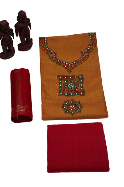 Hazelnut Candy Unstitched Madhubani Cotton Dress Material-MCDM004 Dark yellow red colour traditional