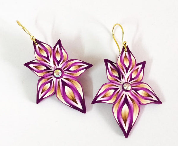 Violet Floral Polymer Clay Earrings