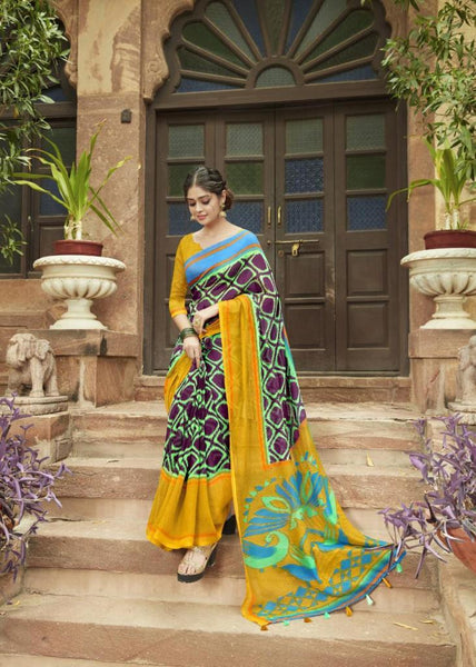 Violet and Mustard Jute Saree-JS005
