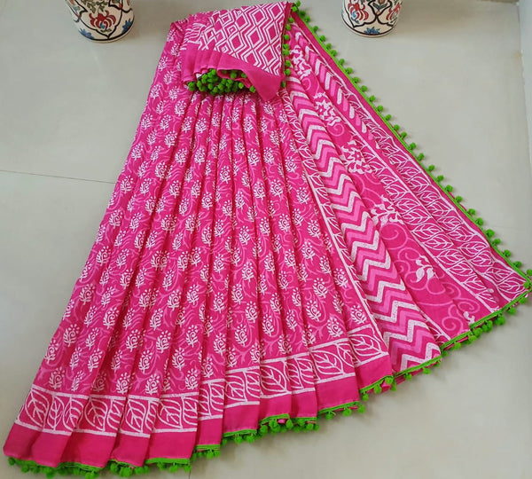 Voguish Pink Cotton Saree