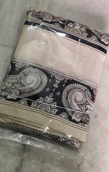 Black and White Kalamkari Hand Painted Mulmul Cotton Saree