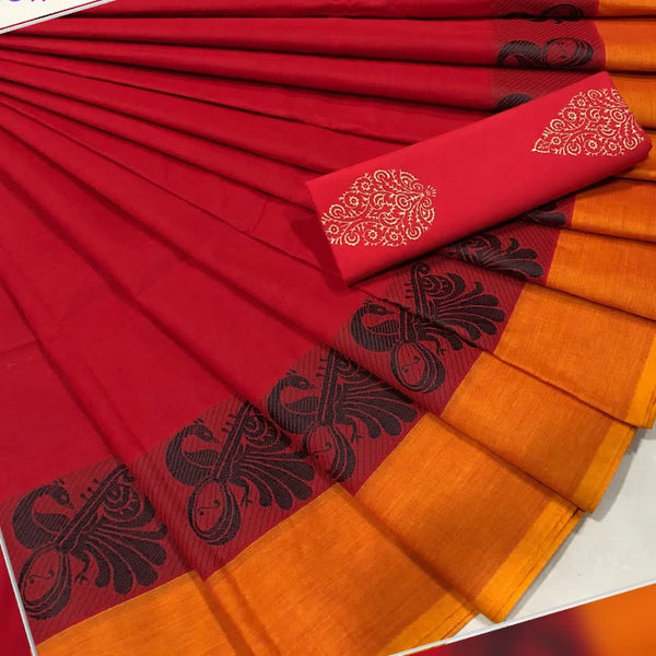 Red with Orange Border Cotton Saree with Peacock Motif