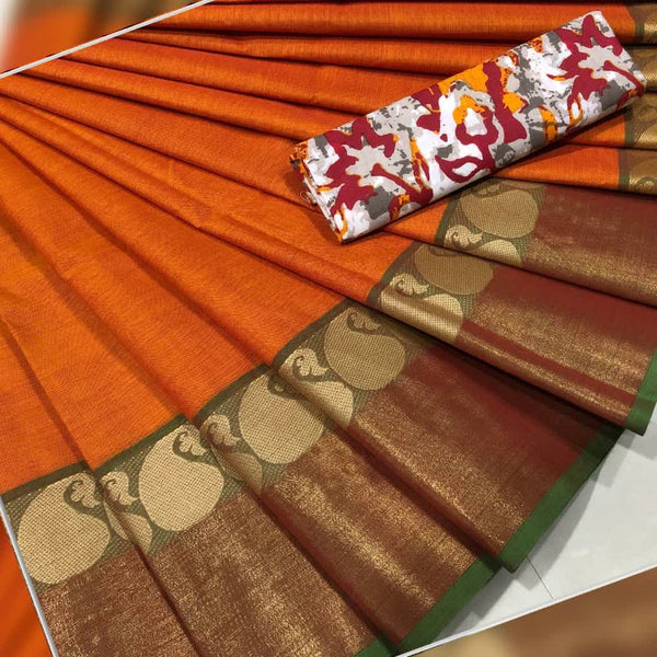 Orange Cotton Saree with Mango Motif