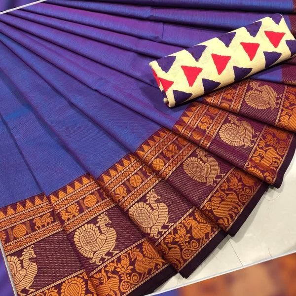 Double Shaded Blue with Peacock Motif Cotton Saree
