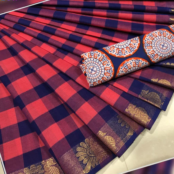 Pink and Navyblue Checked Cotton Saree with Blouse