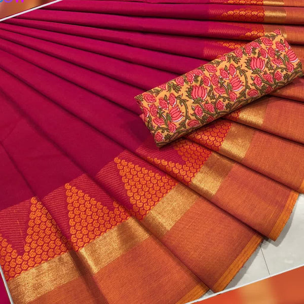 Pink with Orange Border Cotton Saree