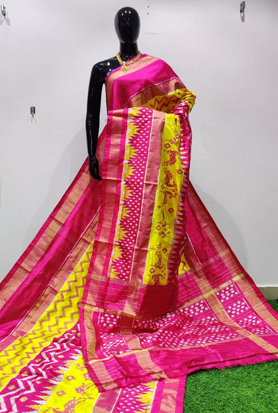 Yellow and Pink Ikkat Silk Saree