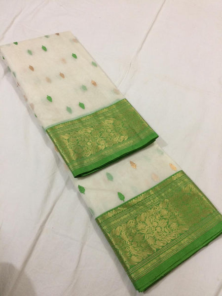 White with Green Pure Katan Chanderi Silk Saree