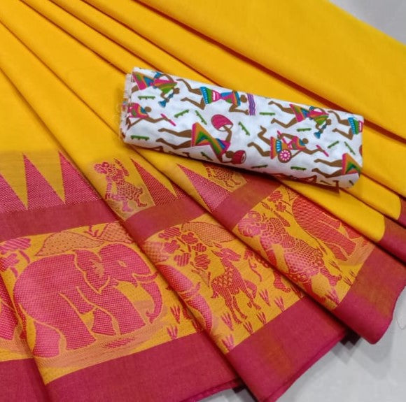 2d275d9141 Village Vibes- Ochre Chettinad Saree with printed Kalamkari blouse- CS