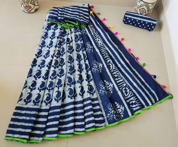 Blue Cotton Saree with contrast Green Border-TCS010