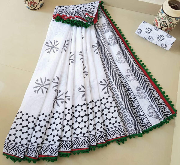 Floral Designed White Cotton Saree with Red and Green Border -TCS002