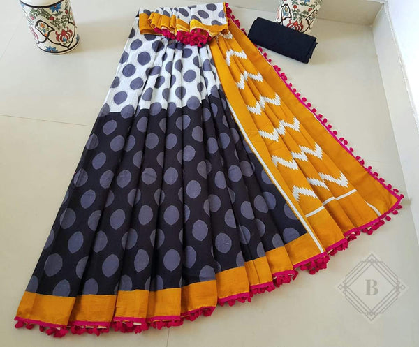Alluring Multicoloured Cotton Saree-TCS015