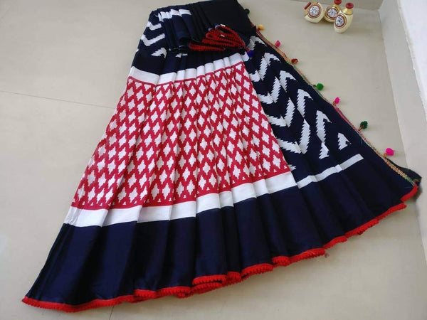 Navy Blue and Red Cotton Saree-TCS016