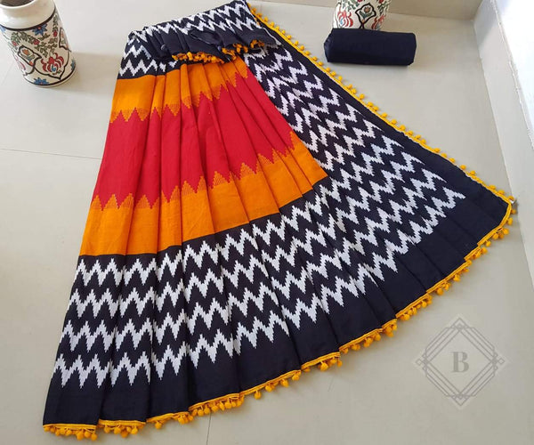 Mesmerising Multicoloured Cotton Saree-TCS019