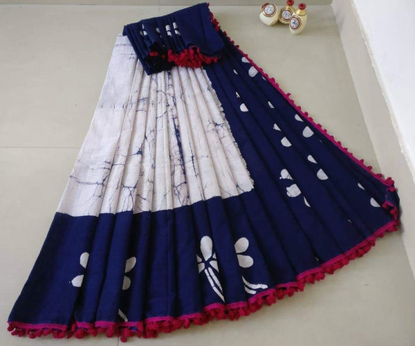 White Cotton Saree with Navy Blue Border-TCS006