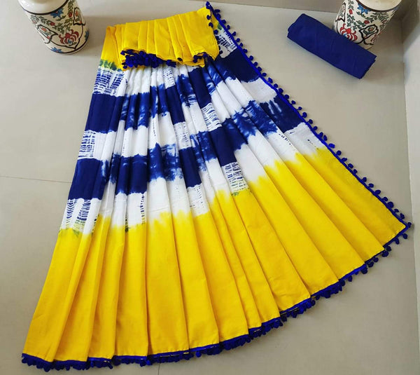 Yellow Cotton Saree with Royal Blue Border-TCS021