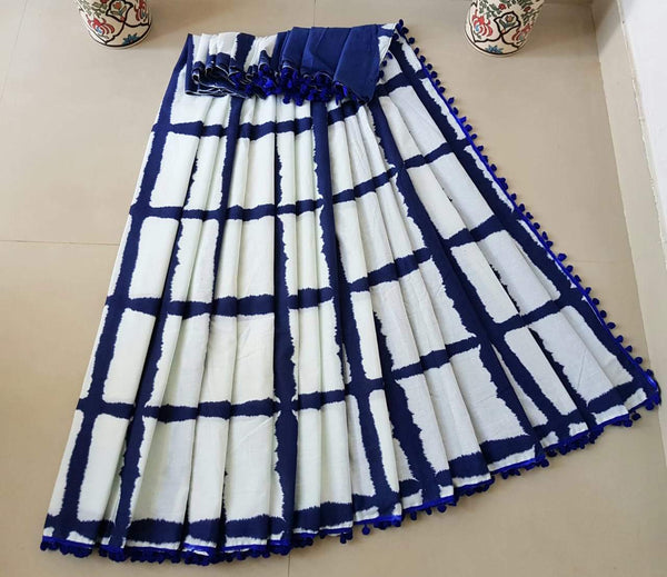 Royal Blue and White Checkered Cotton Saree-TCS005