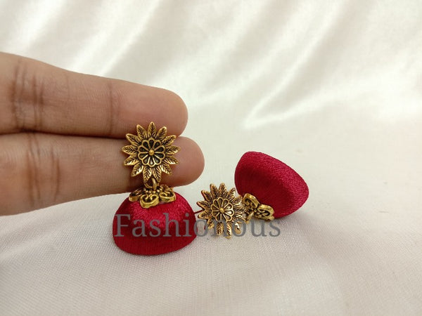 Maroon Silk Thread Earring With Flower Stud-RGE001