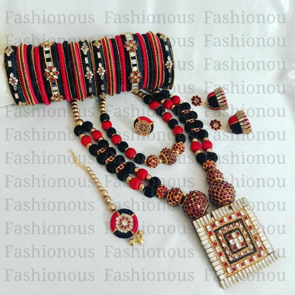 Red and Black Silk Thread Jewelry Set