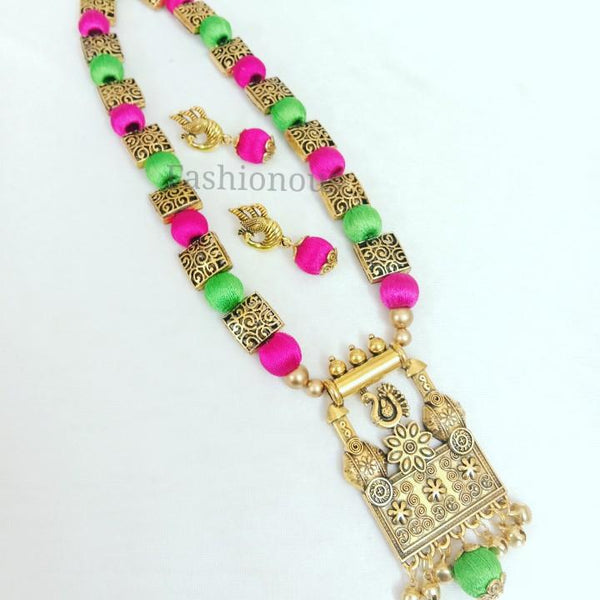 Pink and Green Silk Thread Long Necklace and Earring