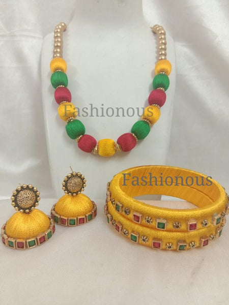 Yellow with Green and Red Silk ThreadJewellery Set