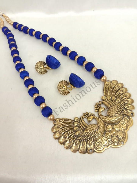 Ink Blue Peacock Pendant Necklace and Earring