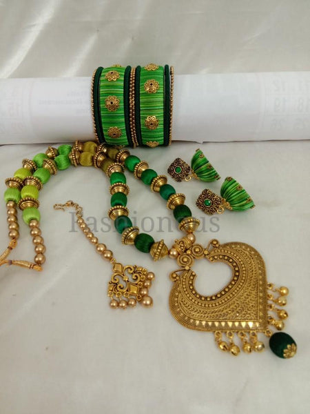 Light Green with Dark Green Silk Thread Jewelry Set