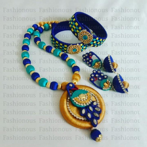 Sky Blue and Navy Blue Silk Thread Jewelry Set