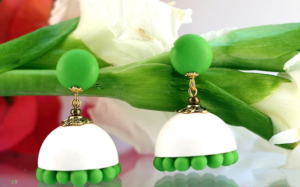 White-Green Polymer Clay Jhumka