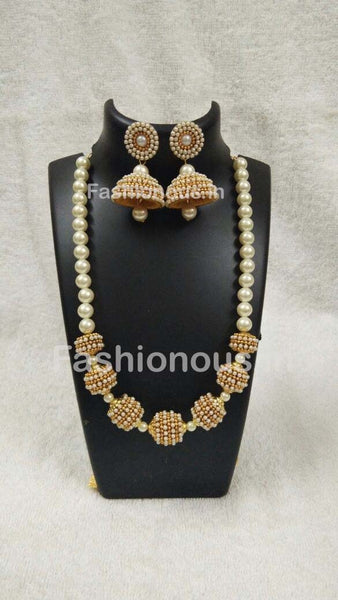 White Beaded Silk Thread Jewellery Set-STJSW-072