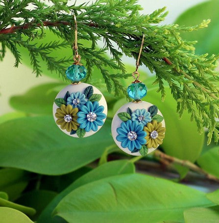 White – Blue Round Polymer Clay Danglers