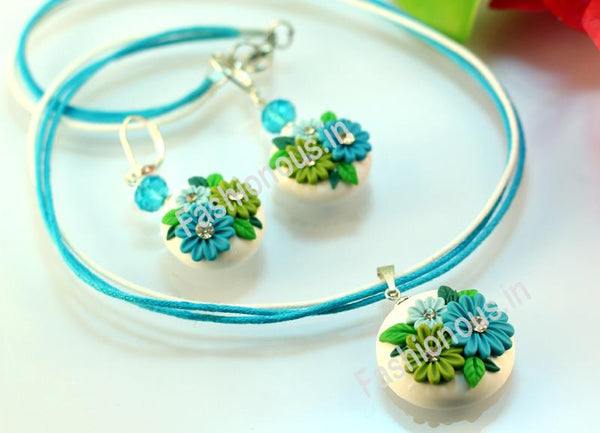 White Garden Necklace and Earrings-ZAPCNS-031